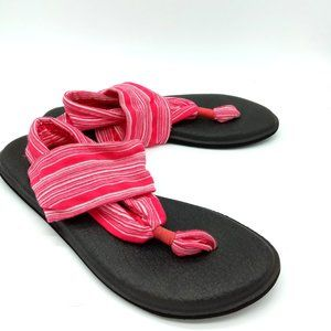 Sanuk Women's Yoga Sling 2 Pink Stripe Sandals 8